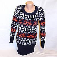 Новогодний свитер туника с оленями, фирменная D&G р 44-46