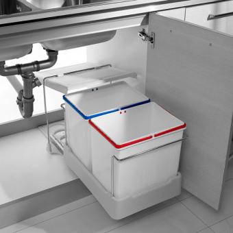 Відро висувне 400 мм з двома контейнерaми. INOXA