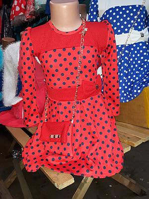 Детское нарядное платье в горошек для девочки