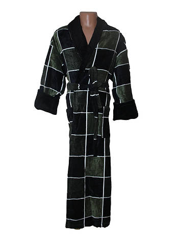 Махровый мужской халат Sokuculer Квадрат зелено-черный XL, фото 2