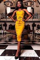 Элегантное женское горчичное платье Бюстье Jadone  42-48 размеры