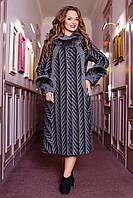 Красивое зимнее женское теплое пальто большого размера 50 размер.Зимове жіноче пальто