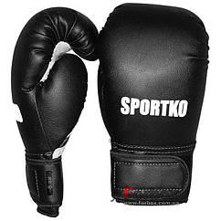 Перчатки бокс Sportko  10унц. чёрный арт. ПД1 КОЖВИНИЛ
