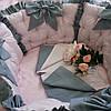 Розовые бортики в круглую кроватку + комплект постельного белья