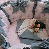 Розовые бортики в круглую кроватку + комплект постельного белья, фото 1