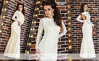Шикарное вечернее белое гипюровое платье