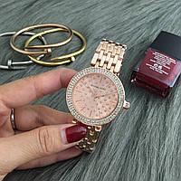 Женские часы Michael Kors MK Grid со стразами на циферблате бронзовые, фото 1