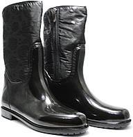 Резиновые сапоги женские утепленные на молнии черные Valex 4640 ЧР