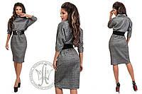 Элегантное и сдержанное платье офисного стиля с широким поясом