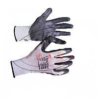 Перчатки с нитриловым покрытием, бело-серые