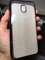 В наличии!!! Силиконовый прозрачный чехол с блестящим ободком чёрного цвета для SAMSUNG Galaxy J3(2017) J330