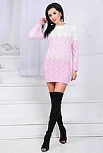 Женская туника, 50% шерсть 50% акрил, р-р универсальный 42-46 (розовый)