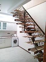 Кованые перила в классическом стиле с элементами растительности, фото 1