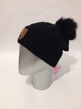 женская вязаная шапка с меховым помпоном продажа цена в харькове