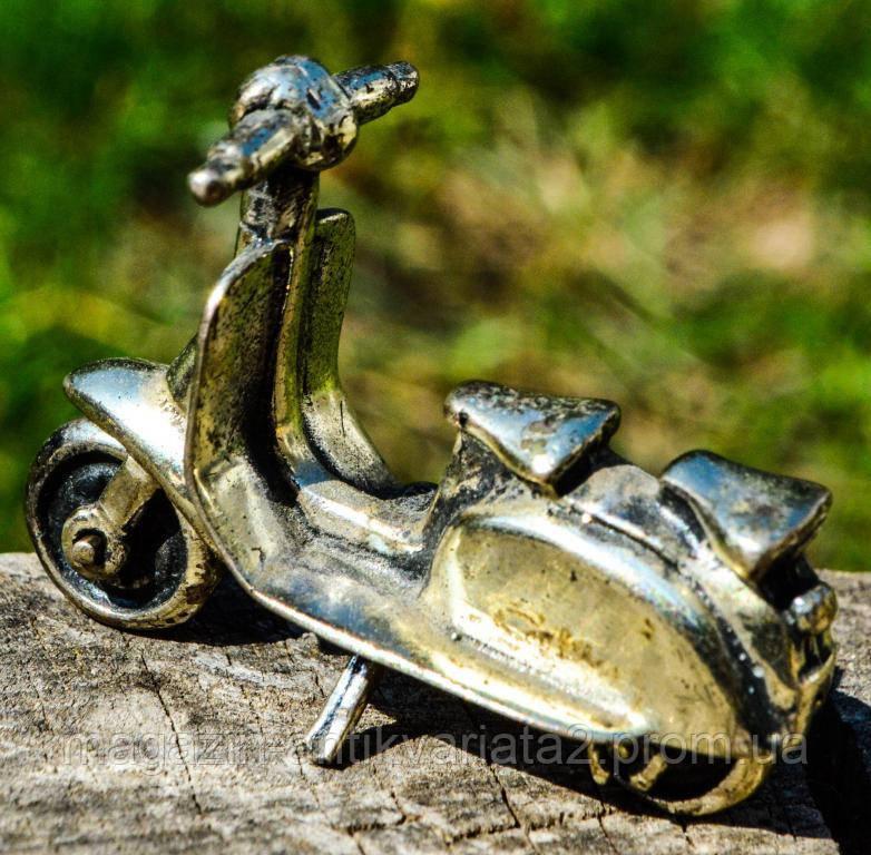 Коллекционная скульптура,Мотороллер,мотоцикл! Миниатюра! Серебро! Germany!