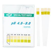 Медицинский лакмус (рН- тест) 4.5-9.0 рН (слюна, моча, кровь, секреты) 100 полосок, фото 1