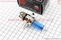 Лампа для фары галоген H4 P43T 12V 18/18W синяя, фокус HQ