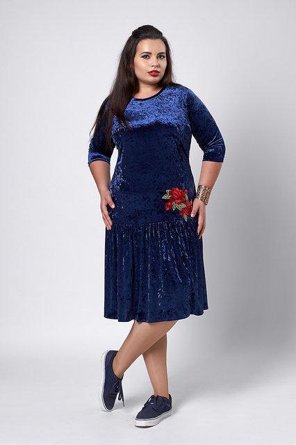 Бархатное платье синее