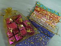 Новорічний мішок з органзи 18*24 см Новогодний мешок из органзы