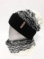 Женский набор вязаная шапка-чулок с шарфом-хомутом