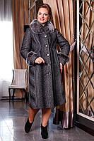 Красивое зимнее женское теплое пальто большого размера 50, 52, 58 размер.Зимове жіноче пальто