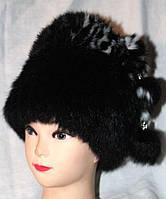 Женская модная шапка из меха кролика - черная