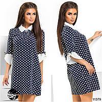 Элегантное платье в горошек со сборкой на груди, декорированное рюшами на рукавах контрастного цвета