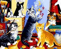 "Картины раскраски по номерам ""Котята художники"" набор для творчества"