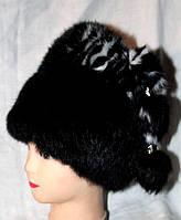 Стильная зимняя женская шапка из меха кролика черного окраса