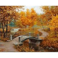 """Картины раскраски по номерам """"Осенний парк (мост)"""" набор для творчества"""
