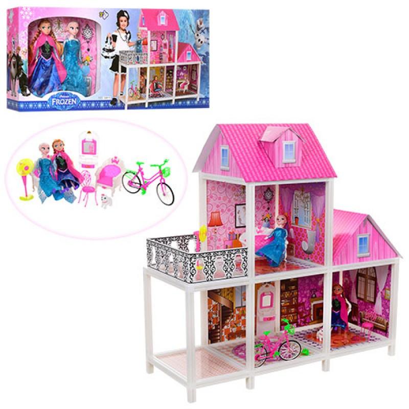 Домик Большой двухэтажный для кукол 66913  с мебелью и аксессуарами