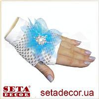 Перчатки-митенки Эльза белые