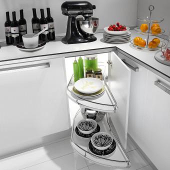 Висувний  механізм для кухні Genius з 2-ма поличками. Покриття - хром. INOXA
