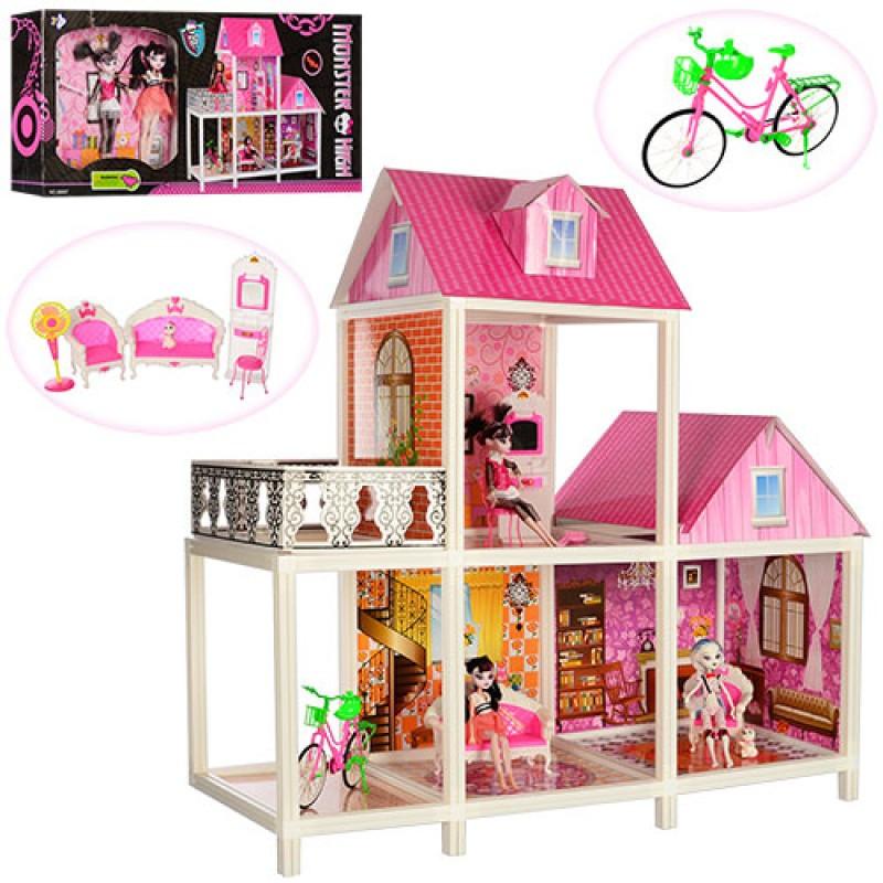 Домик Большой двухэтажный для кукол Монстер Хай 66912 с мебелью и аксессуарами