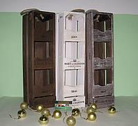 Деревянная подставка для вина на 3 бутылки вертикальная коричнево-белая, фото 1