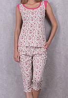 Домашняя пижама хлопковая женская комплект домашний футболка и бриджи (капри) трикотажные
