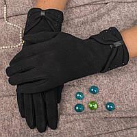 Классические женские перчатки на меху с декоративным бантиком Paidi 872-7 6.5