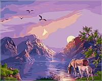"Картины раскраски по номерам ""Закат в горах"" набор для творчества"