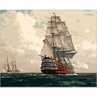 """Картины раскраски по номерам """"Корабль в море"""" набор для творчества"""