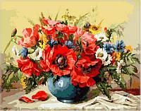 """Картины раскраски по номерам """"Маки с полевыми цветами"""" набор для творчества"""