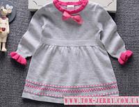 Вязаное серое платье для девочки 1-2-3-4-5-6 лет(рост 80,90,95,100,110,115,120)