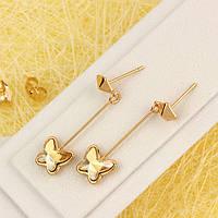 008-4616 - Позолоченные серьги с кристаллами Swarovski Butterfly Crystal Golden Shadow (Золотистая Шампань)