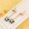008-4618 - Позолоченные серьги с кристаллами Swarovski Butterfly Dark Indigo (благородный синий)