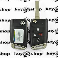 Оригинальный выкидной ключ для Volkswagen Golf (Фольксваген Гольф) 3+1 кнопка, чип ID48, 5GO959752BE, 315 MHZ