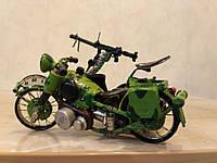 """Сувенир ручной работы модель  """"Мотоцикл с коляской военный"""""""