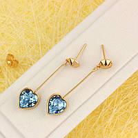 008-4620 - Позолоченные серьги с кристаллами Swarovski Xilion Heart Aquamarine Crystal (Аквамарин)