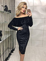 Платье из бархата с воланом на плечах, черного цвета