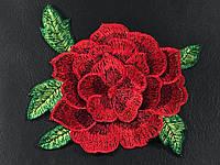 Нашивка Роза 3D красная 115х120 мм