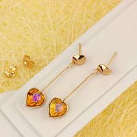R2-4622 - Позолоченные серьги с кристаллами Swarovski Xilion Heart Crystal Fire Opal (Огненный Опал)