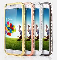 Бампер металлический с кристаллами для Samsung S4, фото 1